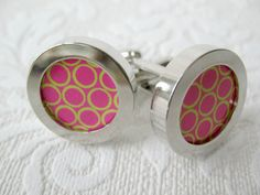 Pink and Yellow Spotted Cuff links by artdivine on Etsy, $28.00