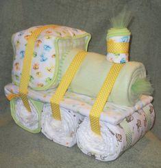 Choo Choo Train Diaper Cake for Baby Shower by CushyCreations
