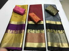 *Mayuri design* *Original aura saree* new design. Fabric :cotton silk Saree 6.30 mtr with running blouse 100% Orignal quality Single pc available Full set available Stock ready to ship..... ✅