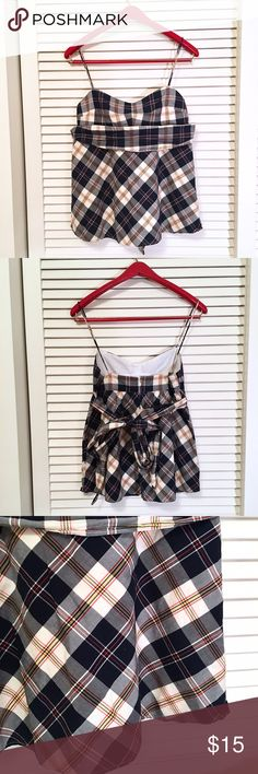 J Crew Plaid Top Perfect for summer or a sunny vacation! Plaid top from J. Crew Factory is fully lined with white cotton and features a matching plaid tie below the bustline. Spaghetti straps. Zip back. J. Crew Tops Tank Tops
