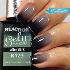 """Chickettes.com - Gel II Reaction """"After Dark"""" - color changing gel polish while in transition"""