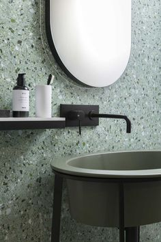 Love this soft green terrazzo look for the bathroom. #bathroom #bathroomdesign #bathroomideas