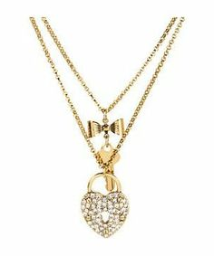 Betsey Johnson Iconic Heart/Key 2 Row Necklace #accessories  #jewelry  #necklaces  https://www.heeyy.com/suggests/betsey-johnson-iconic-heartkey-2-row-necklace-gold-antique-gold/