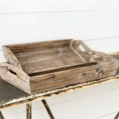Aged Antiqued Wood Trays With Handles, Set of 2