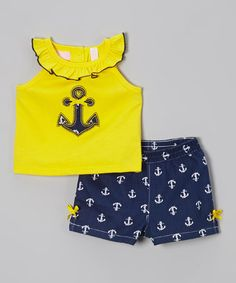 Yellow Anchor Yoke Tank & Navy Shorts - Infant, Toddler & Girls #zulily #zulilyfinds