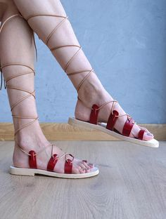 Leather lace up sandals / Red gladiator sandals / Red leather