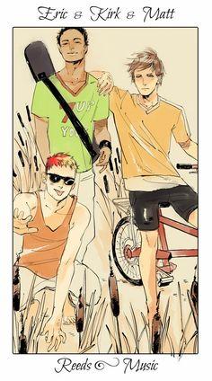 Eric, Kirk y Matt|Reeds - Music. Los Amigos de Simon y compañeros de grupo Musical que cambia constantemente de nombre