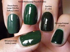 5 green comparison swatches: bb couture, illamasqua, rescue beauty lounge, and zoya
