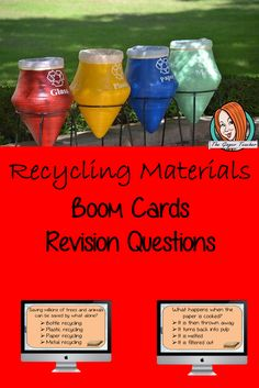 Recycling Materials Revision Questions This deck revises children's knowledge of Recycling Materials. There are multiple choice revision questions to check children's understanding. These question cards are self-grading and lots of fun! Lessons For Kids, Science Lessons, Teaching Science, Teaching Kids, Classroom Activities, Classroom Ideas, Planning And Organizing, Recycled Bottles, Multiple Choice