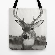 Whitetail Deer Black and White Double Exposure Tote Bag