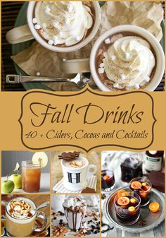 40 Fall Drink Recipes including Ciders, Cocoas,and cocktails. Some hot and some cold. Perfect to get you through the holidays 40 Fall Drink Recipes including Ciders, Cocoas,and cocktails. Some hot and some cold. Perfect to get you through the holidays Yummy Recipes, Fall Recipes, Holiday Recipes, Cooking Recipes, Drink Recipes, Delicious Desserts, Ginger Ale, Spicy Ginger, Non Alcoholic Drinks