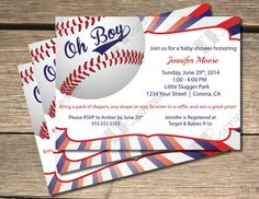 baseball themed baby shower invitation 5x7