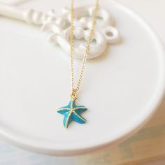 starfish necklace, blue starfish charm, charm necklace, stacked necklace, beach necklace, blue charm necklace, minimal necklace by Sayaestics on Etsy