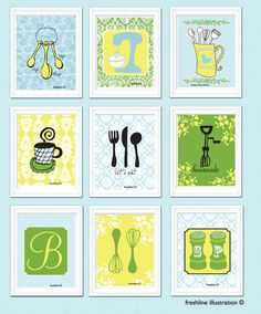 Kitchen Wall Art - Set of 9 - Art Prints - Mixer, Teapot, Salt and Pepper, Utensils Nine beautiful prints are included in this listing. Kitchen Prints, Kitchen Wall Art, Diy Kitchen Decor, Home Decor, Kitchen Ideas, Inspiration Wall, Wall Art Sets, Retro, Diy Crafts