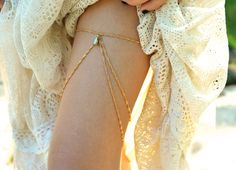 Thigh Chain Leg Chain Garter Leg Bracelet Body Jewelry Armor Gypsy Boho Bohemian Rose Golden Chain Asymmetric Drape Drop Bead. $25.00, via Etsy.