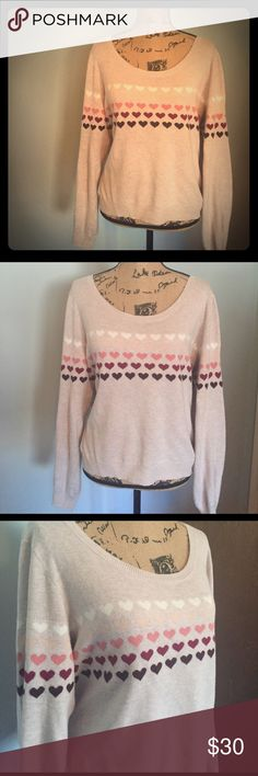 💜💕Heart Sweater 💕💜 LC Lauren Conrad Heart Sweater, size XL. This is a Reposh and I'm super hesitant to list it because I love the style so much. Just wish it was a bit more slouchy on me. A medium or large would fit great in this! EUC, no rips or stains, minimal piling. LC Lauren Conrad Sweaters Crew & Scoop Necks