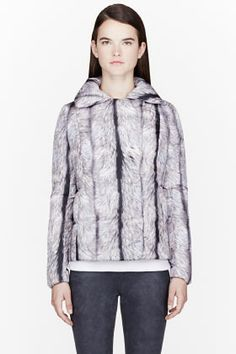 MM6 MAISON MARTIN MARGIELA Silver Fox Fur Print Puffer Jacket