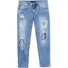 Dolce & Gabbana Denim Trousers ($570) ❤ liked on Polyvore featuring pants, blue, denim trousers, ripped pants, blue trousers, zip pants and denim pants