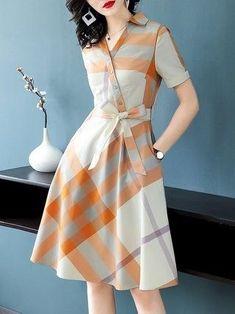 Shirt Collar A-line Date Short Sleeve Wrap Checkered/Plaid Midi Dress