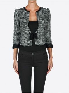 Custo veste tweed (raccourcir + noeud satin + biais)