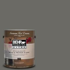 BEHR Premium Plus Ultra 1-gal. #PPU18-18 Mined Coal Flat Enamel Interior Paint-175301 - The Home Depot