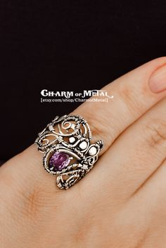 Ainulindale - Sterling silver 925 violet faceted amethist ring - wire wrap elf woman gift sharp jewelry