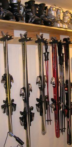 Diy Möbel Greengate Ranch Remodel: Quick-and-Dirty Ski Rack for the Garage, Ranch Remodel, Garage Remodel, Garage Renovation, Kitchen Remodel, Garage Shop, Garage House, Car Garage, Small Garage, Modern Garage