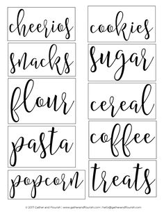 Free Printable Pantry Labels! Free SVG pantry label cut files as well as printable sticker sheet pantry labels!