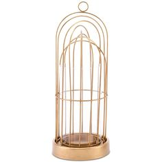 Zuo Birdcage Candle Small Holder ($87) ❤ liked on Polyvore featuring home, home decor, candles & candleholders, gold, birdcage candle holder, gold home decor, gold home accessories, gold candles and birdcage home decor