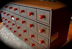 Reserved For Richard Vintage Industrial Red-knob Tool/hardware Box With Drawers