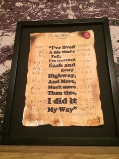 Frank Sinatra My Way song lyric typographic by Inmyheartdesigns, £12.99