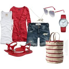 Red with jelly sandals and canvas tote