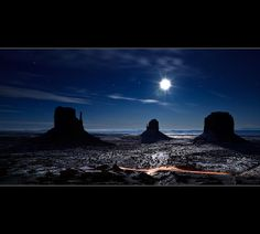 Vote for this picture: Moonlight reflexion on the snow in Monument Valley - The Mittens - Arizona by Dominique Palombieri, via Flickr