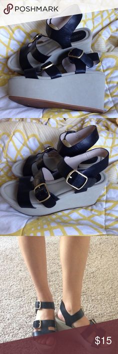 comfy buckle strap flatform sandals comfortable strappy platform shoes, the beige platform is a soft suede like texture and the black is faux leather with gold buckles. lightly used and priced accordingly Rosegold Shoes Platforms
