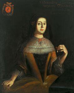 Portrait of Aleksandra Tyszkiewiczowa née Czartoryska in Spanish guardainfante (cartwheel farthingale) by Anonymous from Poland, 1670s (PD-art/old), Muzeum Pałacu Króla Jana III w Wilanowie