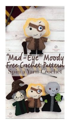 Harry Potter Amigurumi Mad Eye Moody Free Crochet Pattern It's that time of year again! Welcome to Hogwarts Week This is the third (!) annual week of magic… Tricot Harry Potter, Harry Potter Free, Harry Potter Crochet, Harry Potter Dolls, Theme Harry Potter, Crochet Kawaii, Crochet Gratis, Free Crochet, Crochet Patterns Amigurumi