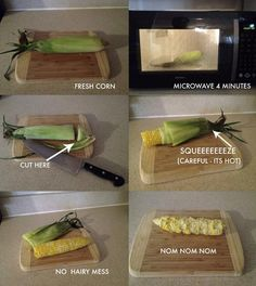 microwave an un-husked ear of corn 4 min. cut off open end. squeeze (careful it's hot) the other end forcing the ear out of the husk. Enjoy!