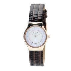 Skagen Women's 233XSRL8AD Brown Leather Band Swarovski Markings Mother-Of-Pearl Dial Watch Skagen. $69.00. Swarovski elements. Water-resistant to 30m (99 ft). Durable mineral crystal. Case diameter: 25 mm. Quartz movement