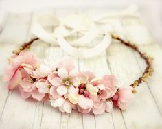 Pink Roses Floral Crown. Bridal Accessories. Bohemian. Pink and Yellow. Woodland. Rustic. Spring, Flower Crown, Bridal, Hair Accessories. $45.00, via Etsy.