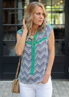 Collective Concepts Yul Split Neck Top-Stitch fix. Love the pattern, colors and it of this!