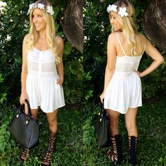 """Run like the wind! Obsessing over the new """"Midi Lace Romper"""" ($34.99 also available in black) """"Subtle Sass Caryall"""" bag ($34.99) """"Flower Headpiece""""  ($12.99) all available in store or online at sophieandtrey.com! #sophieandtrey #wildchild #boho #wildflower #freespirit"""