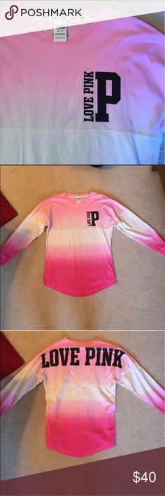 PINK Ombré Long Sleeve Spirit Jersey - XS Selling a PINK Victoria's Secret Ombre Long Sleeve Spirit Jersey. Like new condition! Non-smoking household. Feel free to ask any questions!                    🚫 Trades                                                                                                                  👍🏼 Make an Offer With the Offer Button! PINK Victoria's Secret Tops Tees - Long Sleeve