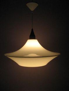 Acrylic/teak pendant lamp (Orno 64-479) designed by Yki Nummi for Stockmann-Orno, made by Sanka Oy, 1965.