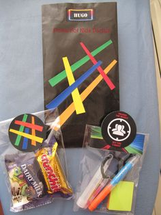 Laser Tag Party Bag - with small fluro pens and glow sticks plus chocolate bars