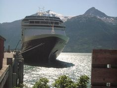 MS Volemdam, Holland America Line...we loved travelling on this line! Tied up at Juneau, Alaska.