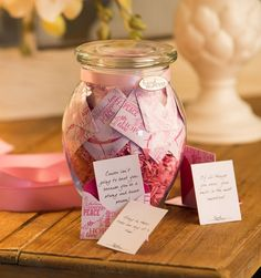 KindNotes Pink Ribbon Jar with (31) messages . Send this beautiful jar of KindNotes to someone fighting cancer so that they can be reminded to stay strong and to know that you are thinking about them. This makes a unique pink ribbon gift idea, not only great for an October Breast Cancer Awareness gift, but as a thoughtful gift for anytime of the year. Please Like & Repin. <3
