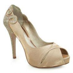 Sapato Peep Toe de Noiva Laura Porto Bege Bronze Dourado -