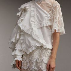 Burberry - Cotton and lace ruffle dress
