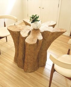 Tree trunk table, I read a Book by Nora Roberts whose character crafted…