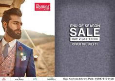 SaleTime- It's is on !  Visit us TODAY at The Raymond Seconds Shop - Paldi and avail our exclusive 'BUY 2 GET 1 FREE' offer. Valid for limited period ONLY.  #EOSS #EndofSeasonSale #Suits #Menswear #Clothing #Apparel #Raymond #India #Sale #SaleSeason #Discount #Ahmedabad